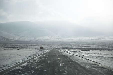 Plateau snow road Banco de Imagens