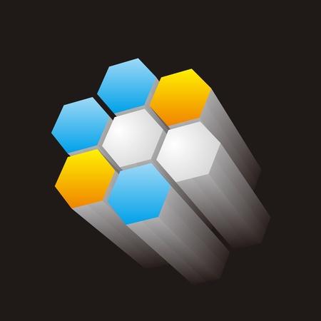 Three-dimensional hexagonal Stock Vector - 10842161