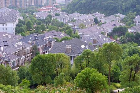 overlook: Buildings overlooking the Stock Photo