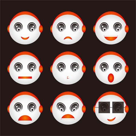 smiley icon: Face design collection Illustration