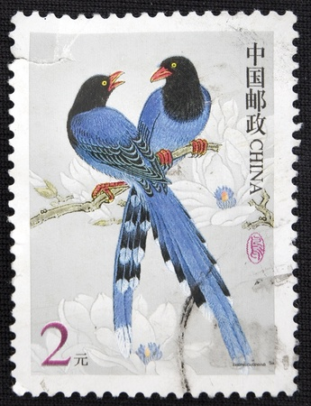 CHINA - CIRCA 2000: A stamp printed in china shows Two birds, circa 2000 Stock Photo - 11708142