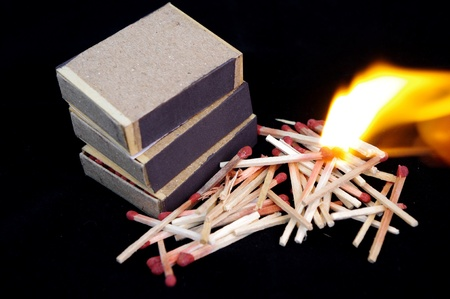 Burning matches photo