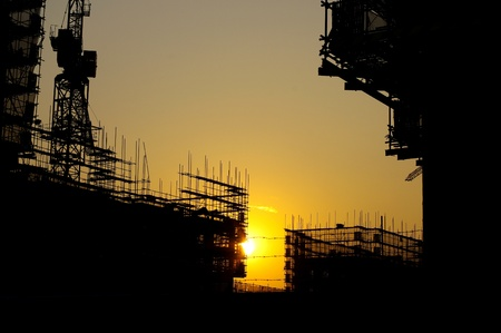 Construction site silhouette photo