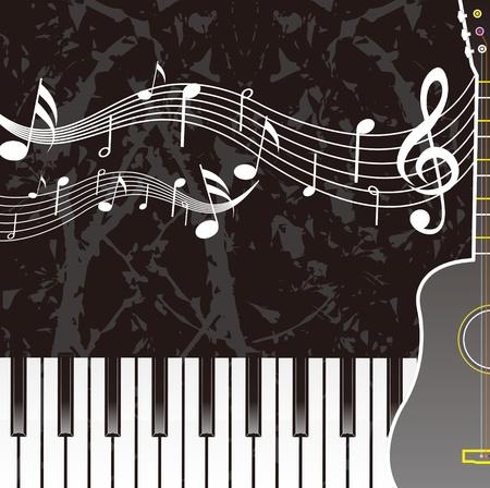 鋼琴樂譜吉他 向量圖像