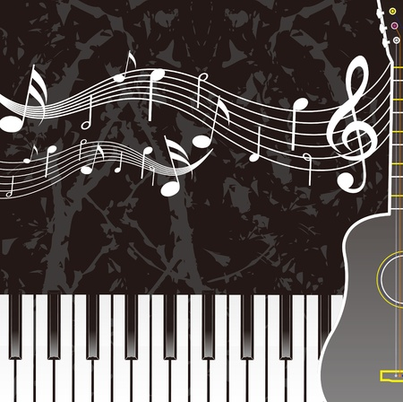 Piano sheet music guitar Vector