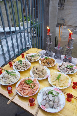 chinese new year food: Chinese New Year festival (in Chinese New Year, food worship their ancestors and the gods, and pray for happiness health and peace) Stock Photo