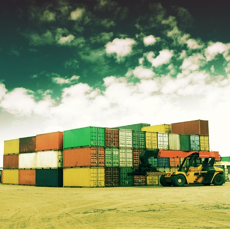 Retro colors of the container terminal Stock Photo - 12511971