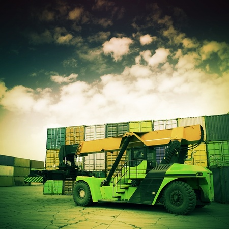 global logistics: Retro colors of the container terminal