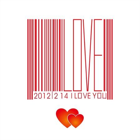 Valentine s Day bar code Stock Vector - 12749125