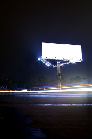 China Shanghai night billboards and fast through the traffic photo