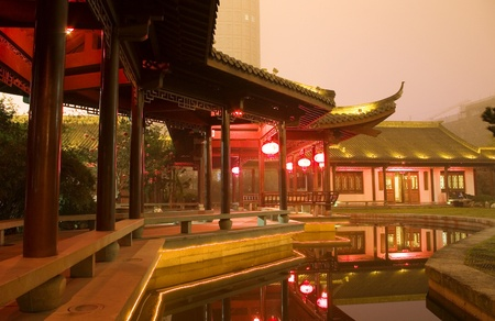 historical reflections: China ancient building night scene Stock Photo