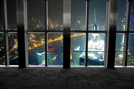 Shanghai scenery looking out the window photo