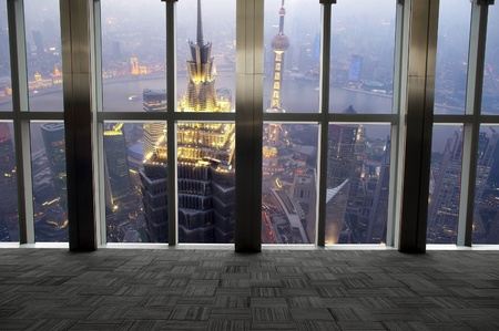 huang pu: Shanghai scenery looking out the window