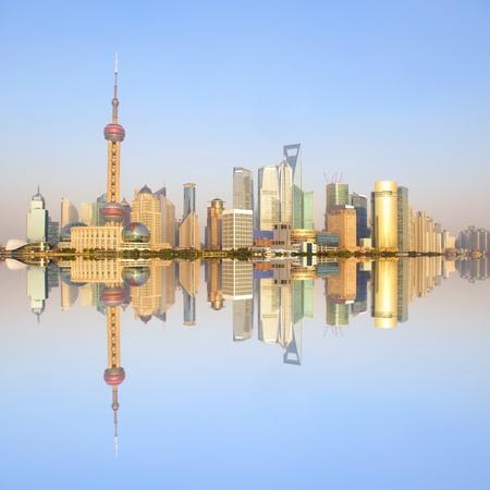 In the 2012 Shanghai city skyline at dusk Stock Photo