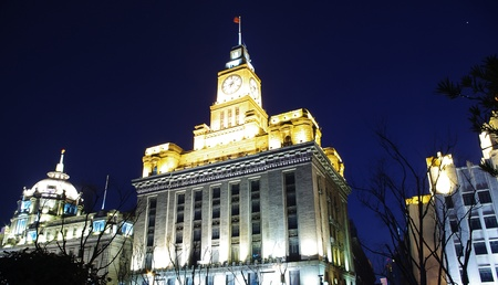 Shanghai Bund historical building at night