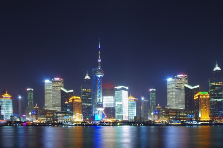 China Shanghai skyline night 2012