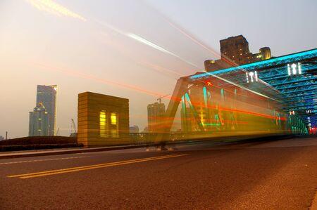Shanghai Bridge traffic at dusk Stock Photo - 13583874