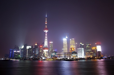 In 2012 the Shanghai skyline and reflections at night