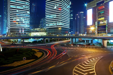 Night in Shanghai traffic light trails 2012 photo