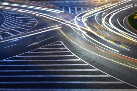 Night in Shanghai traffic light trails Stock Photo