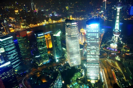 Panorama of the city the night in Shanghai, China 2012 photo