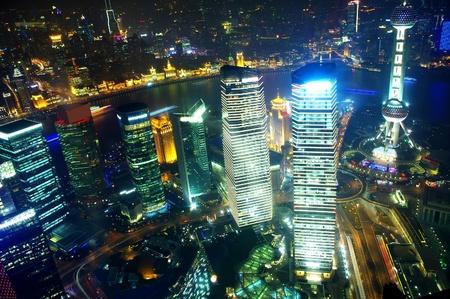 Panorama of the city the night in Shanghai, China 2012 photo