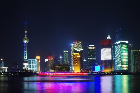 shanghai skyline at night  photo
