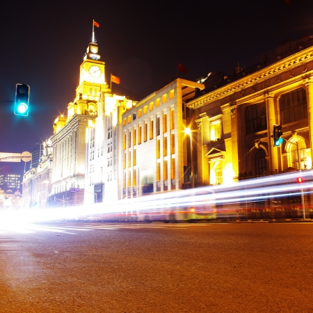 city street night in shanghai, photo