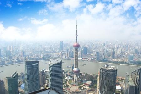 Shanghai skyline overlooking Editorial