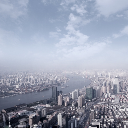 Shanghai skyline overlooking photo