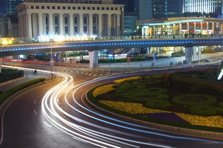 Traffic light trails at night in Shanghai Stock Photo - 13731642