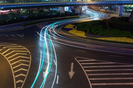 Traffic light trails at night in Shanghai photo