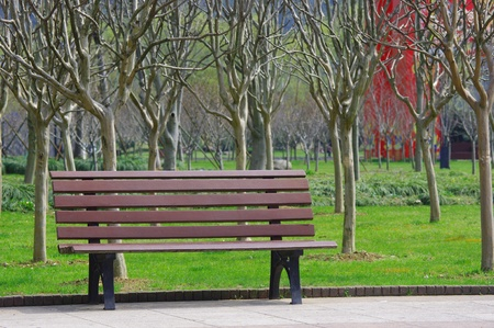 In spring the park seats photo