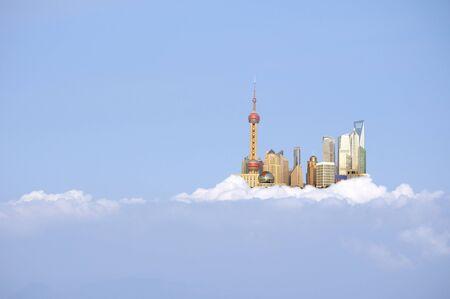 shanghai skyline: china Shanghai skyline in the clouds