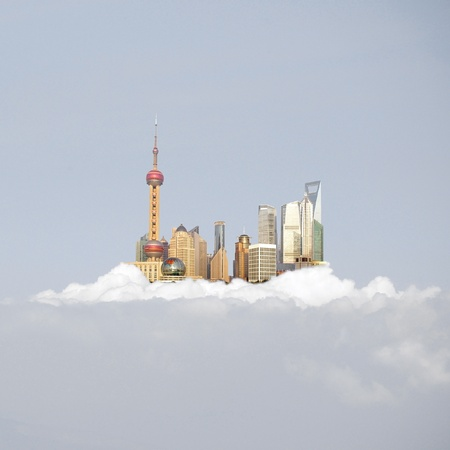 china Shanghai skyline in the clouds