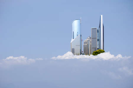 china Shanghai skyline in the clouds photo