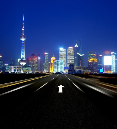 Night road leading to the Shanghai photo
