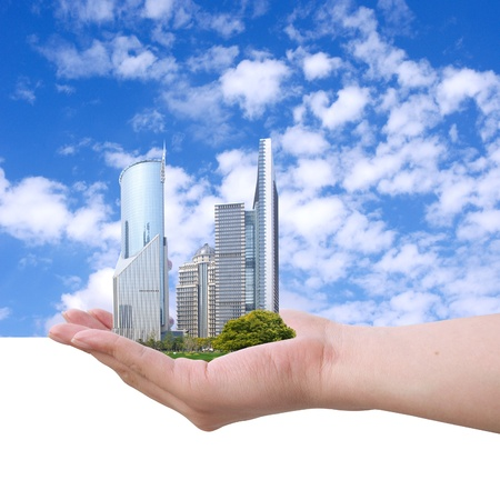futuristic city: Placed in the hands of the Shanghai skyline