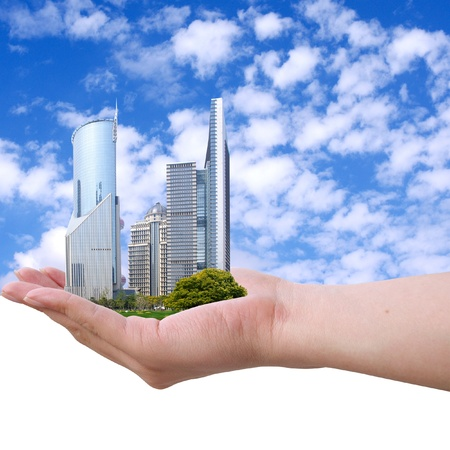 Placed in the hands of the Shanghai skyline photo