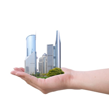 Placed in the hands of the Shanghai skyline