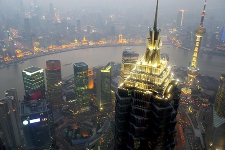 Panorama of the city the night in Shanghai, China 2012