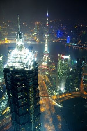 architectural architectonic: Panorama of the city the night in Shanghai, China 2012 Stock Photo