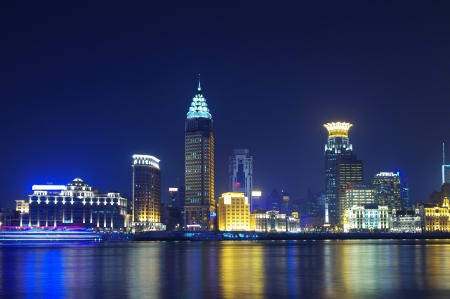 Chine Shanghai skyline nuit photo
