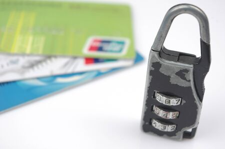 Bank card and locks  to express the concept of protecting your account safety  photo