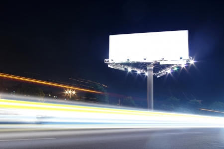 In the night highway billboards Stock Photo