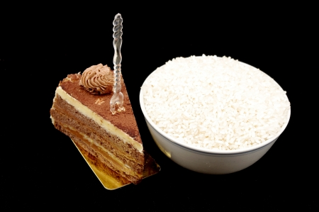 In China, rice and chocolate cake  expressed in the Western theme chosen  photo