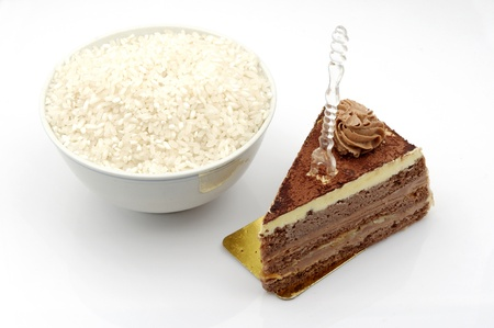 expressed: In China, rice and chocolate cake  expressed in the Western theme chosen