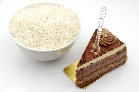 In China, rice and chocolate cake  expressed in the Western theme chosen Stock Photo - 14516702