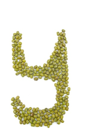 Mung bean composed of letters of the alphabet photo