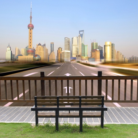 Sit and look at the Shanghai skyline